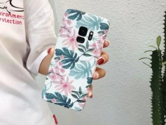 قاب طرح دار گل آبی  blue leaf Case samsung galaxy S8 plus
