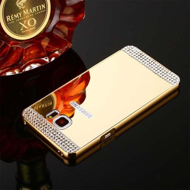 قاب آینهای نگیندار دور فلزی موبایل سامسونگ S7 Edge