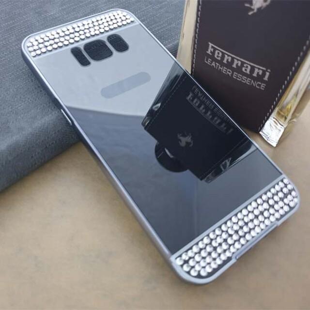 قاب آینهای نگیندار دور فلزی موبایل سامسونگ S8