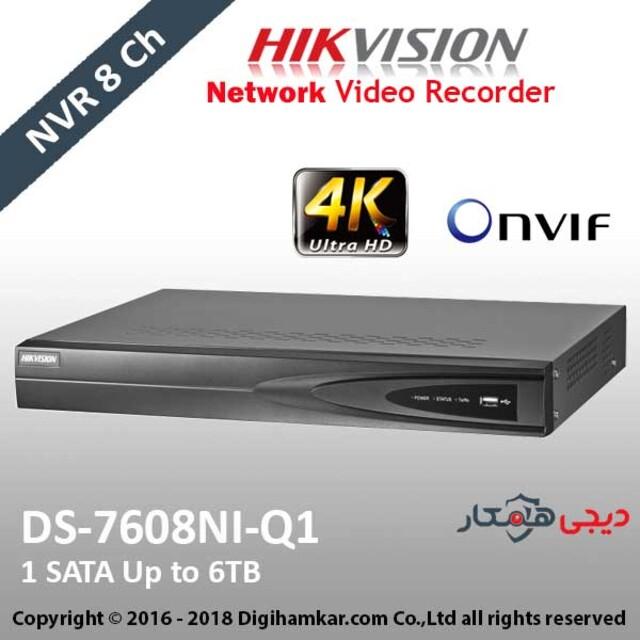 ضبط کننده ویدیویی تحت شبکه NVR هایک ویژن مدل DS-7608NI-Q1