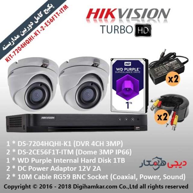 پکیج کامل دوربین مداربستهTurboHD هایک ویژن اقتصادی KIT-7204HQHI-K1-2-E56F1T-ITM