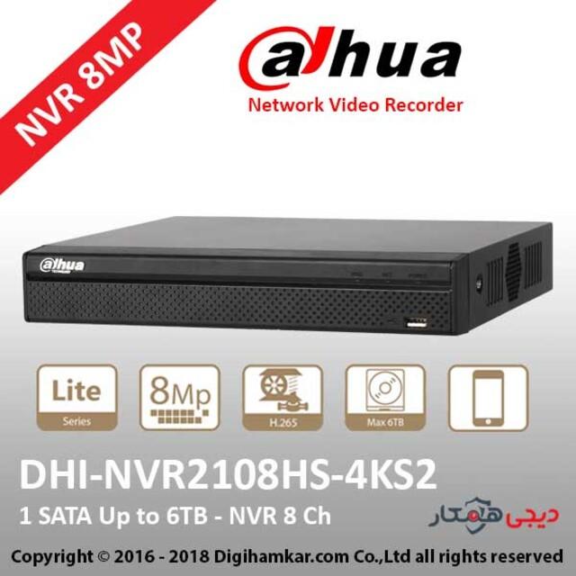 ضبط کننده ویدیویی تحت شبکه NVR داهوا مدل DH-NVR2108HS-4KS2
