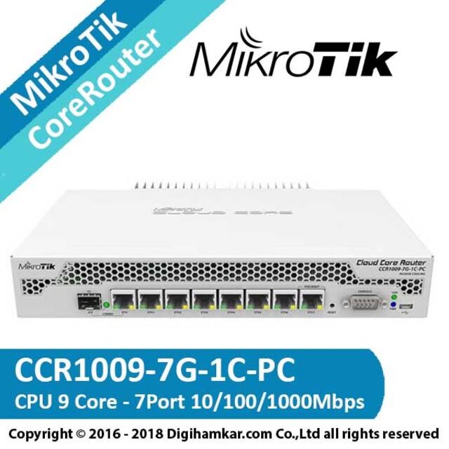 کر روتر میکروتیک مدل CCR1009-7G-1C-PC