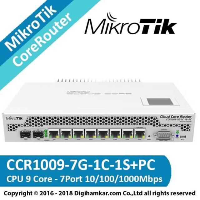کر روتر میکروتیک مدل CCR1009-7G-1C-1S+PC