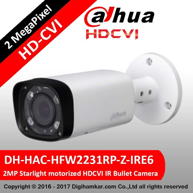 دوربین مداربسته بولت داهوا HD-CVI مدل DH-HAC-HFW2231RP-Z-IRE6