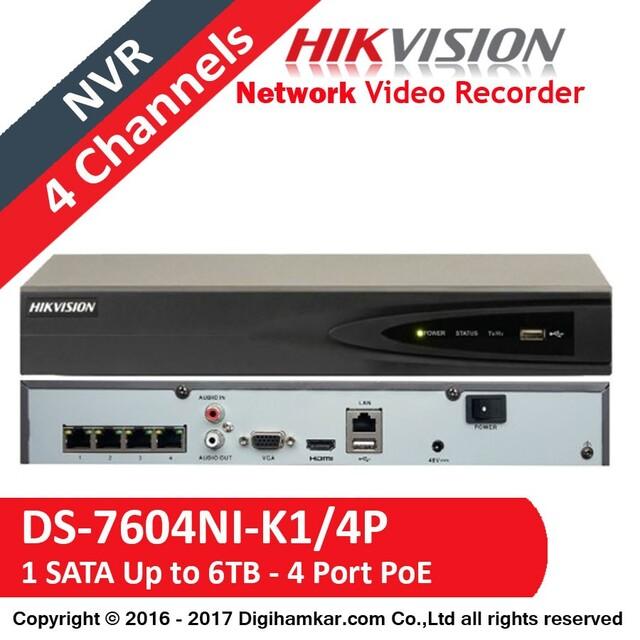 ضبط کننده ویدیویی تحت شبکه NVR هایک ویژن مدل DS-7604NI-K1/4P