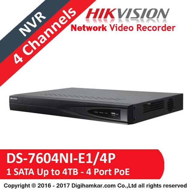 ضبط کننده ویدیویی تحت شبکه NVR هایک ویژن مدل DS-7604NI-E1/4P