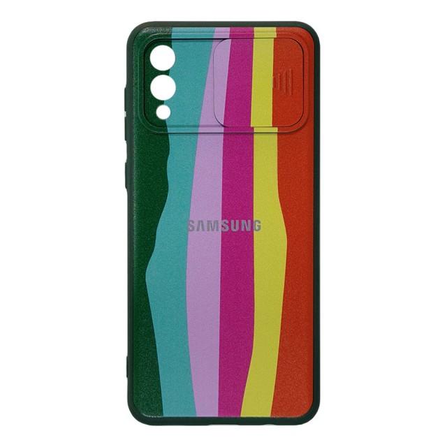 قاب سیلیکونی رنگین کمانی محافظ لنزدار کشویی سامسونگ A02