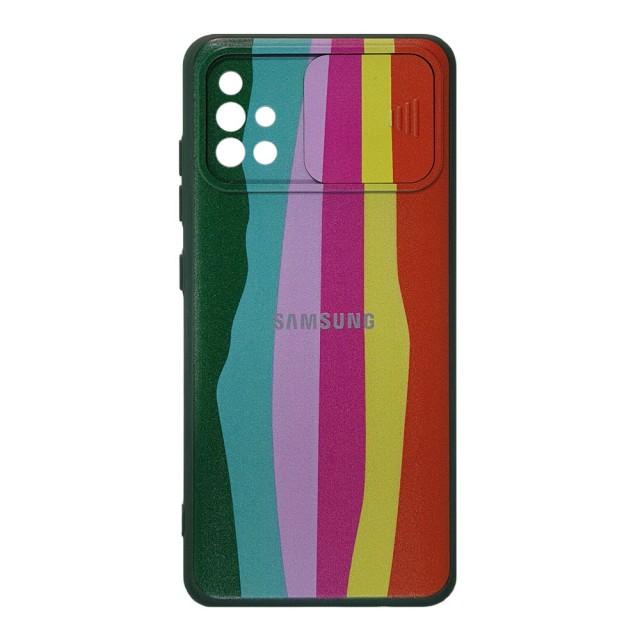 قاب سیلیکونی رنگین کمانی محافظ لنزدار کشویی سامسونگ M51