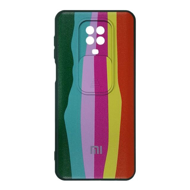 قاب سیلیکونی رنگین کمانی محافظ لنزدار کشویی شیائومی Redmi Note 9s