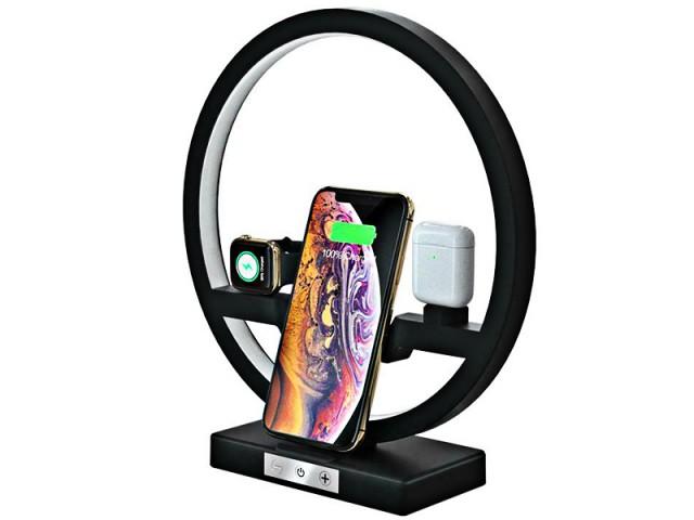 شارژر بی سیم سه کاره رومیزی مدل Multifunction Desk Lamp Wireless Charger مناسب برای شارژ گوشی، ایرپاد و اپل واچ