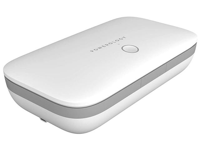 دستگاه ضد عفونی کننده گوشی موبایل پاورولوژی مدل PWLUVWH Universal UV Sanitizer Box با قابلیت شارژ وایرلس