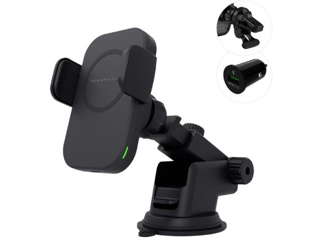 پایه نگهدارنده و شارژر وایرلس گوشی موبایل پاورولوژی مدل PCCSR001 (بهمراه شارژر فندکی و گیره اتصال به دریچه کولر)