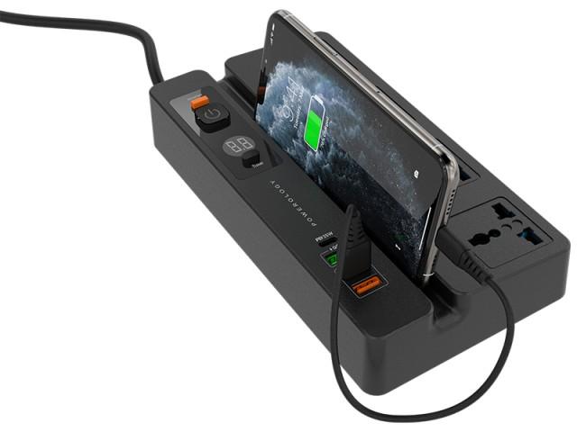 چند راهی برق تایمردار و استند گوشی موبایل پاورولوژی مدل P65MPSBK