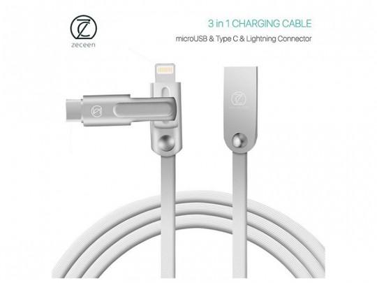 کابل شارژ  وانتقال داده  micro USB & TYPE-C & Lightning  زیکن مدل ZN-ALLOY