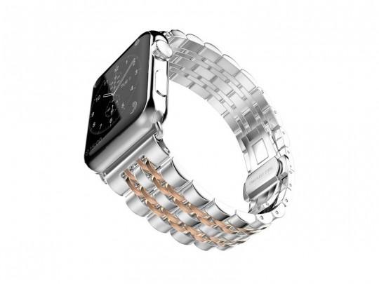 بند فلزي نقره ای -طلایی اپل واچ 42 ميلي متري  سری Strap Band مدل Fashion Watchband