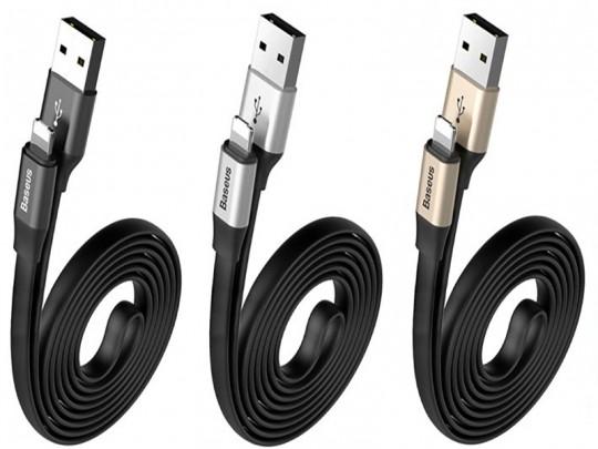 کابل تبدیل 2 کاره USB به MicroUSB و Lightning بیسوس مدل Two In One به طول  1.2 متر