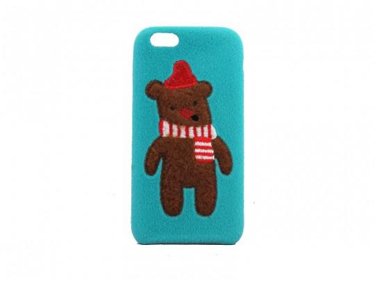 کاور زمستانی طرح خرس قهوه ای گلدوزی شده مناسب برای گوشی موبایل آیفون 6/6S