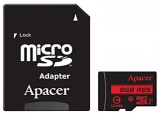 کارت حافظه 8 گیگابایت  microSDHC اپيسر کلاس 10 استاندارد UHS-I U1 سرعت 85MBps به همراه آداپتور