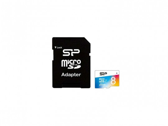 کارت حافظه 8 گیگابایت  microSDHC سیلیکون پاور کلاس 10 استاندارد UHS-I U1 سرعت 85MBps به همراه آداپتور