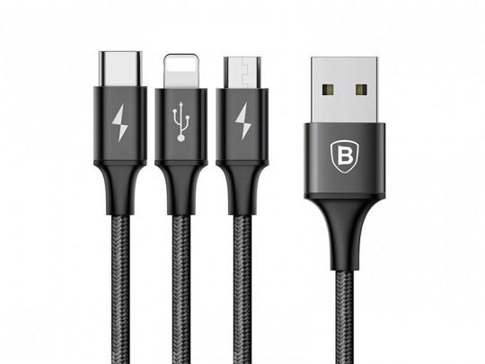 کابل تبدیل USB به microUSB/لایتنینگ/USB-C بیسوس مدل Rapid Series طول 1.2 متر