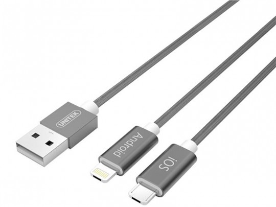 کابل تبدیل USB به لایتنینگ/microUSB یونیتک مدل Y-C4023GD طول 1.5 متر