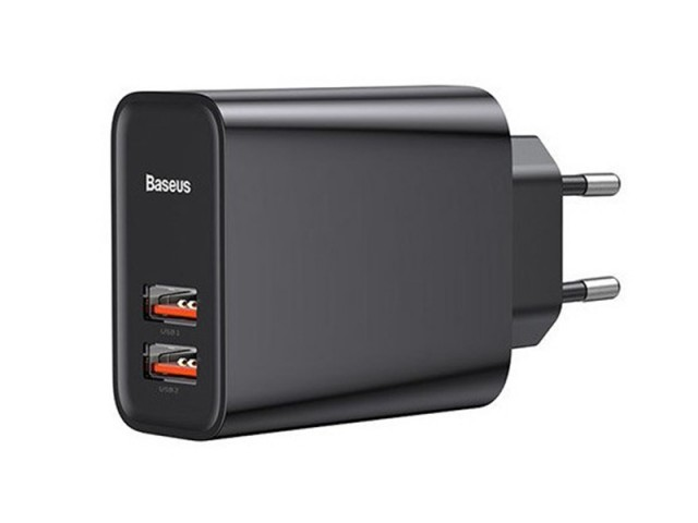 شارژر دیواری بیسوس مدل Speed Dual QC3.0 Quick charger USB + USB
