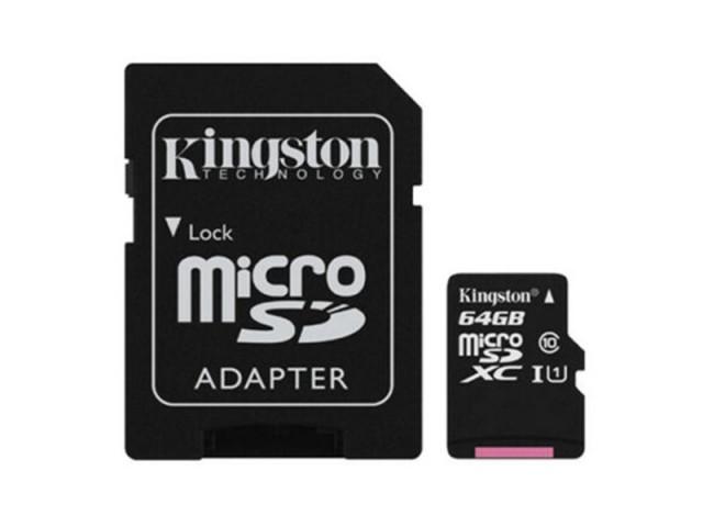 کارت حافظه MicroSDHC کینگستون کلاس 10 همراه با آداپتور SD ظرفیت 64 گیگابایت