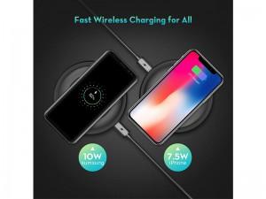 شارژر وایرلس راوپاور مدل Wireless Fast Charging Pad بهمراه آداپتور QC 3.0