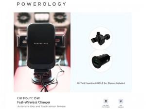 پایه نگهدارنده و شارژ وایرلس گوشی موبایل پاورولوژی مدل P15WCMEBK