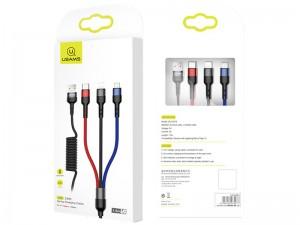 کابل سه سر یوسمز مدل US-SJ318 U26 3in1 Spring Charging Cable