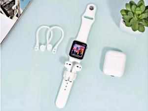 نگهدارنده دور گوشی ایرپاد کوتچی مدل Wrist Fit Earhooks Suit CS8120 بهمراه هولدر سیلیکونی ایرپاد بر روی بند ساعت