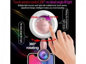 رینگ لایت مدل M-608 به همراه 2 عدد لنز کلیپسی موبایل