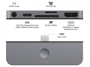 هاب تایپ سی الاگو مدل Type-C Pocket Pro Hub Adapter