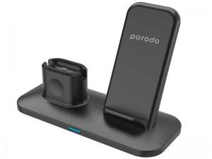 شارژر بی سیم سه کاره پرودو مدل PD-W01 3-in-1 Charging Station مناسب برای شارژ گوشی آیفون، ایرپاد و اپل واچ