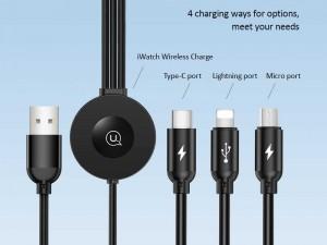 کابل سه سر یوسمز مدل US-CC088 با قابلیت شارژ وایرلس اپل واچ سری 1 تا 5