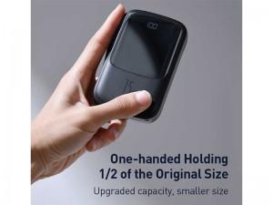 پاور بانک فست شارژ 10000 میلی آمپر بیسوس مدل Qpow Digital Display با کابل لایتنینگ