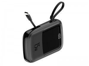 پاور بانک فست شارژ 10000 میلی آمپر بیسوس مدل Qpow Digital Display با کابل تایپ سی