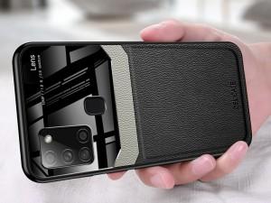 کاور دور دوخت چرم و گلس مدل Delicate Case مناسب برای گوشی موبایل سامسونگ A21s