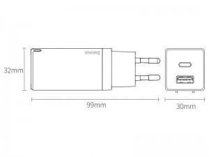 شارژر دیواری فست شارژ بیسوس مدل GaN Mini Quick Charger بهمراه کابل دو سر تایپ سی