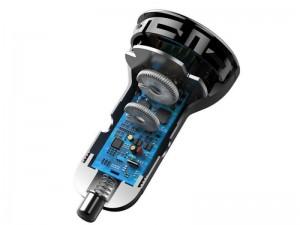 شارژر فندکی فست شارژ بیسوس مدل Digital Display PPS Dual Quick Charger بهمراه کابل دو سر تایپ سی