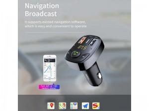 شارژر فندکی فست شارژ با قابلیت پخش موسیقی و مکالمه راک مدل B301 Bluetooth FM Transmitter