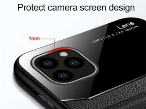 کاور دور دوخت چرم و گلس مدل Delicate Case مناسب برای گوشی موبایل iPhone 12/12 Pro