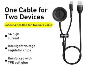 کابل سوپر شارژ دوکاره بیسوس مدل Cafule Series One-for-two Data Cable USB to C+ Watch Charging Dock با قابلیت شارژ ساعت هوشمند هوآوی