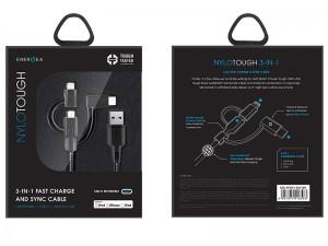 کابل فست شارژ سه کاره انرژیا مدل NyloTough به طول 30 سانتیمتر