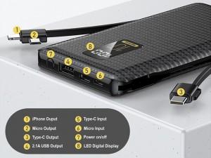 پاور بانک 10000 میلی آمپر ریمکس مدل PPL-11 LINON 3J SERIES با کابل متصل
