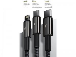 کابل فست شارژ سه سر بیسوس مدل Tungsten Gold 3-IN-1 Cable به طول 1.5 متر