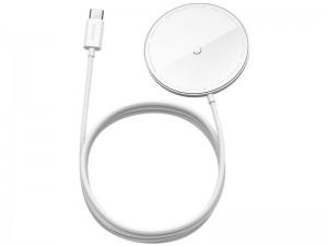 شارژر وایرلس مگنتی بیسوس مدل Simple Mini Magnetic Wireless Charger WXJK-F01 مناسب سری 12 آیفون
