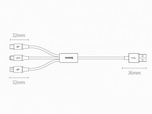 کابل سه سر بیسوس مدل Superior Series Fast Charging Data Cable CAMLTYS-02 به طول 1.5 متر