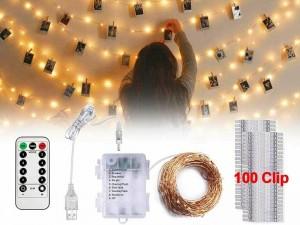 ریسه ال ای دی کنترل دار مدل 100LED Photo Clip String Lights